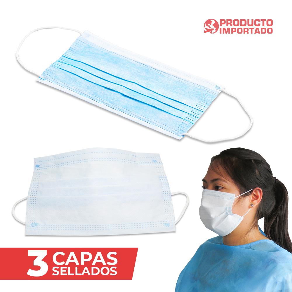 Tapabocas Desechable Sencillo 3 Pliegues - 3 Capas