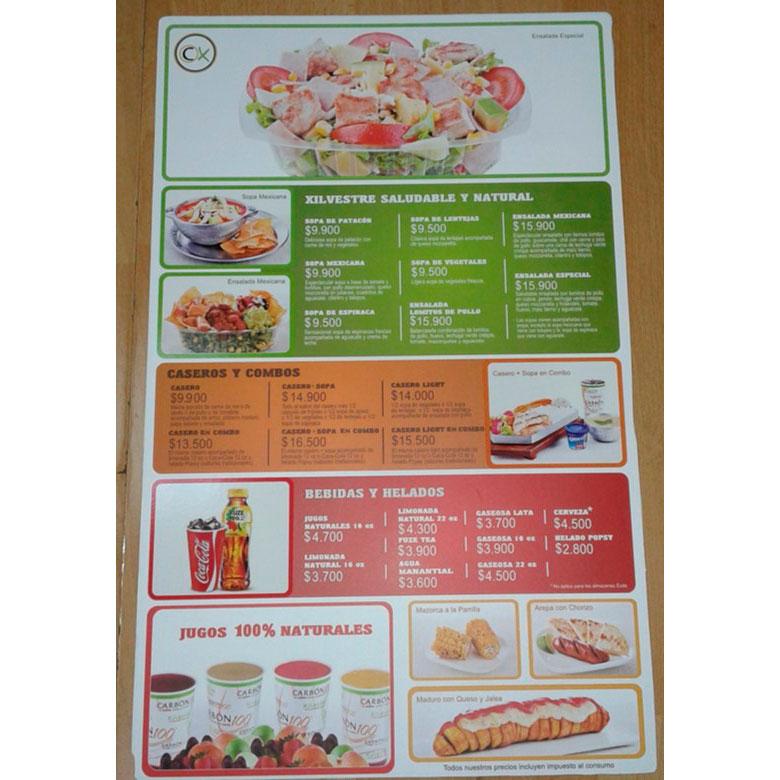 Carta menú durable en plástico con impresión directa