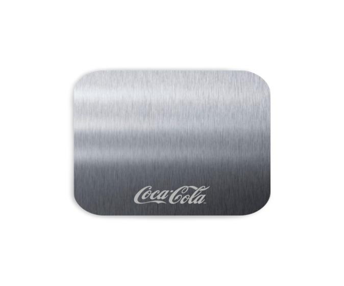 portavasos en acero con marcacion laser coca cola